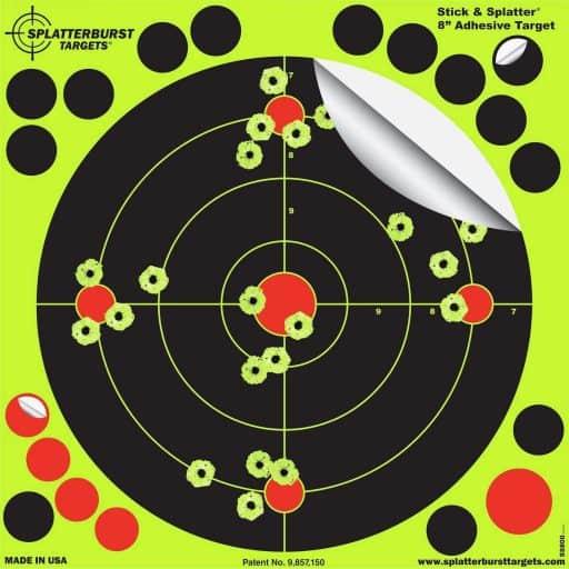 Splatterburst Targets - 8 inch Stick & Splatter Reactive Self Adhesive Shooting Targets